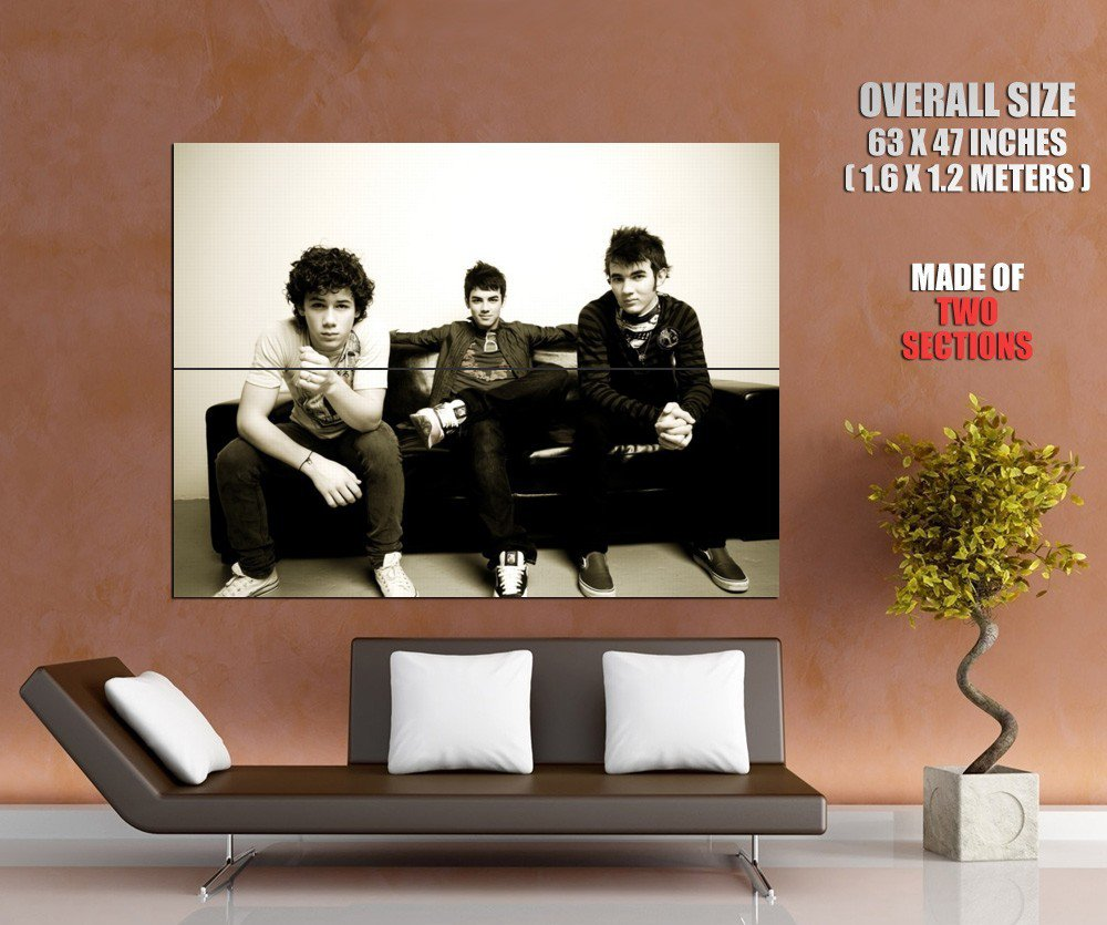 Jonas Brothers Band Bw Huge Giant Print Poster
