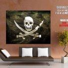 Jolly Roger Black Flag Death Skull Huge Giant Print Poster