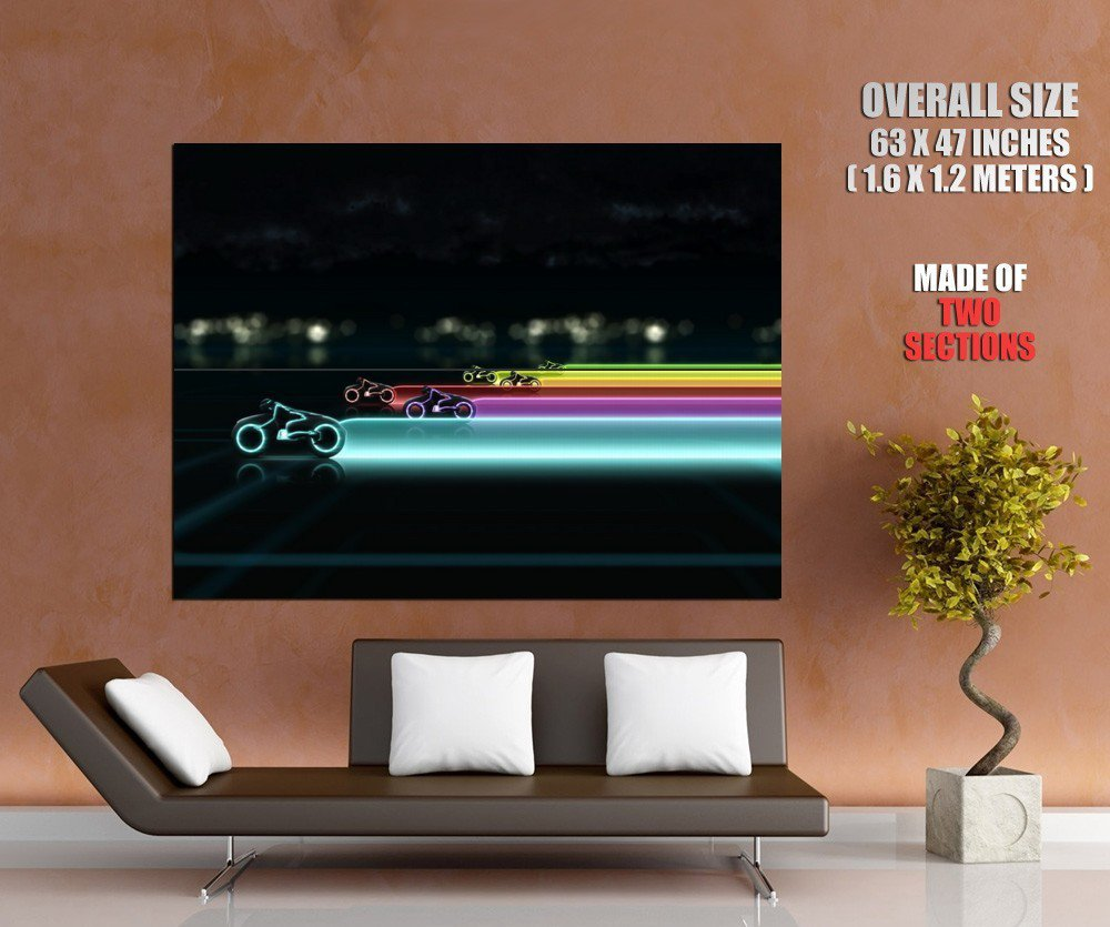 Color Race Light Cycles Tron Huge Giant Print Poster