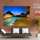 Resort Swimming Pool Night Lights HUGE GIANT Print Poster