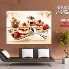 Strawberry Raspberry Ice Cream Dessert HUGE GIANT Print Poster