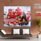Strawberry Blackberry Dessert Food Macro HUGE GIANT Print Poster