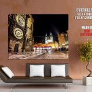 Prague Czech Night City Lights HUGE GIANT Print Poster