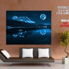Night Moon Mountain Landscape Lake HUGE GIANT Print Poster