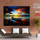 Lonely Boat Beautiful Sunset HUGE GIANT Print Poster