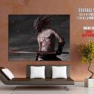 Japanese Demon Warrior Katana Art HUGE GIANT Print Poster