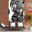 Japanese Demon Bw Art Huge Giant Print Poster