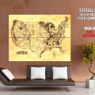 Usa Wild West Indian Lands Educational Huge Giant Print Poster