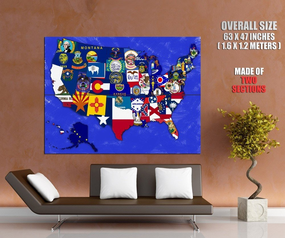 USA Map United States Educational Science HUGE GIANT Print Poster