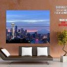Seattle Washington Night Skyline Cityscape HUGE GIANT Print Poster