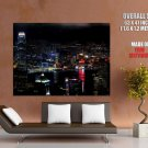 Hong Kong Night City Lights Cityscape HUGE GIANT Print Poster