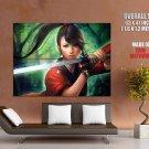 Samurai Girl Sword Katana Anime Art HUGE GIANT Print Poster