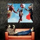 The Avengers Iron Man Thor Captain America Art Movie Huge 47x35 Print POSTER