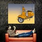 Vespa Scooter Yellow Painting Art Bike Huge 47x35 Print POSTER
