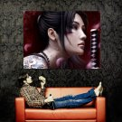 Katana Brunette Girl Japanese Tattoo Art Huge 47x35 Print POSTER