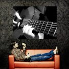 Guitar Playing Music Macro BW Art Huge 47x35 Print POSTER