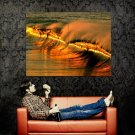 Golden Wave Sunset Puerto Escondido Mexico Huge 47x35 Print POSTER