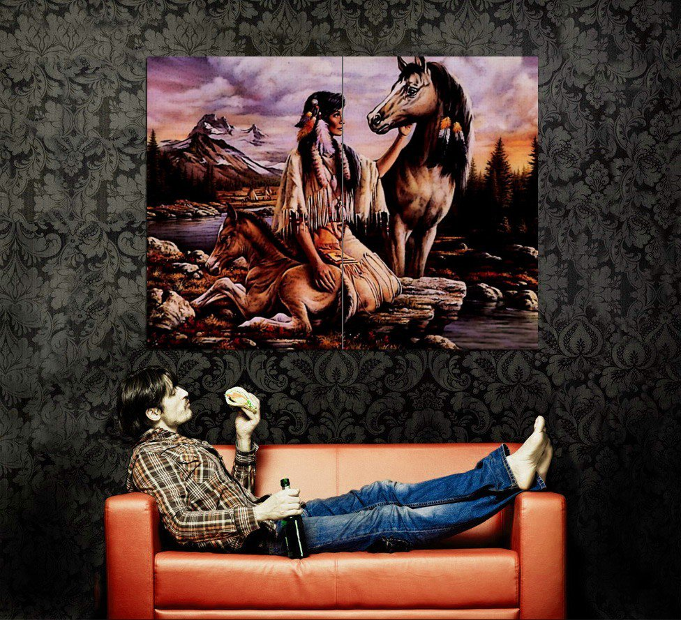 Native American Woman Horse Nature Art Indians Huge 47x35 POSTER