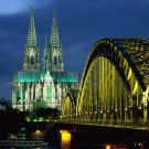 Germany Bridge Gothic Castle Lights Huge 47x35 Print Poster