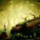 Fantasy Forest Spirit Dragon Flute Art Huge 47x35 Print Poster