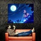 Pretty Girl Night Moon City Skyline Anime Art Huge 47x35 POSTER