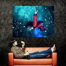 Snow Flakes Night Forest Blood Knife Anime Art Huge 47x35 POSTER