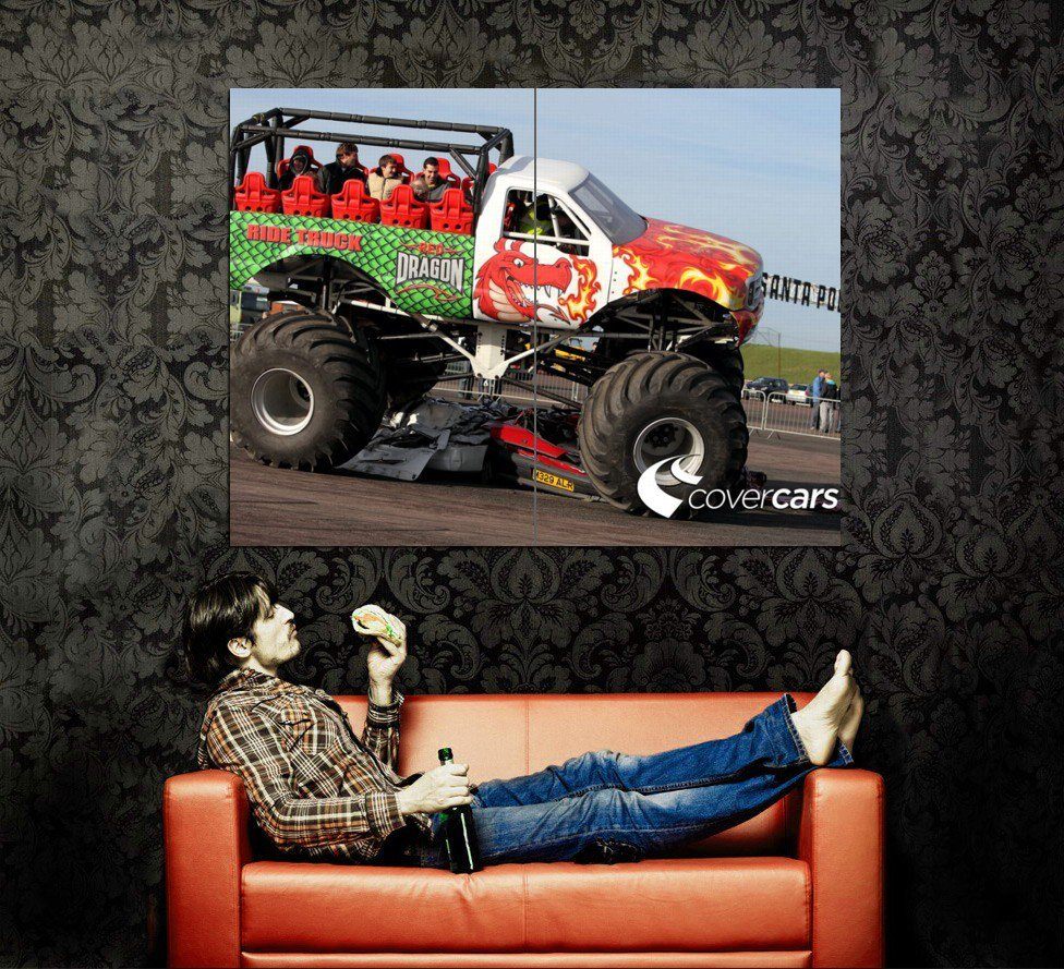 Red Dragon Ride Monster Truck Bigfoot Huge 47x35 Print POSTER