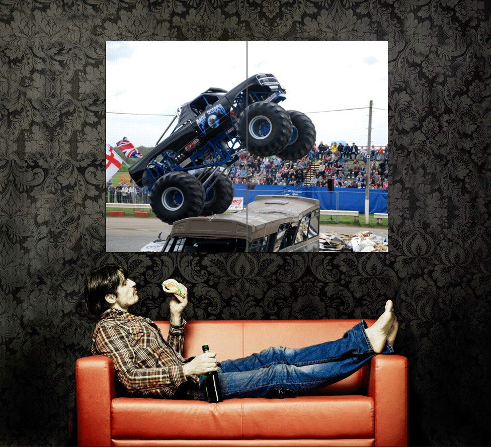Grim Reaper Monster Truck Bigfoot Car Huge 47x35 Print POSTER