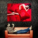 Hot Asian Babe Sexy Red Dress Huge 47x35 Print POSTER