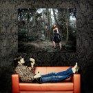 Hot Asian Girl Black Dress Dark Forest Huge 47x35 Print POSTER