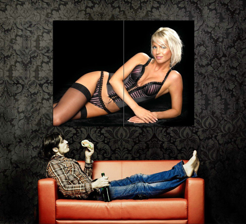 Hot Blonde Babe Sexy Corset Stocking Huge 47x35 Print POSTER