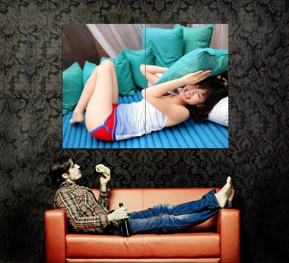 Hot Laughing Asian Girl Sexy Legs Huge 47x35 Print POSTER