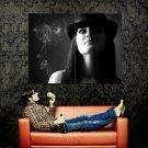 Hot Brunette Babe Portrait Hat Smoke BW Huge 47x35 Print POSTER
