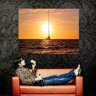Yacht Sea Golden Sunset Nature Huge 47x35 Print POSTER
