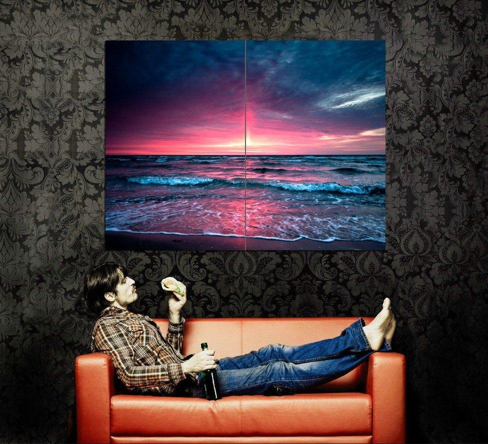 Sea Waves Sunset Overcast Nature Huge 47x35 Print POSTER