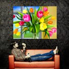 Colorful Tulips Vase Art Huge 47x35 Print POSTER