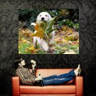 Happy Puppy Maple Leaf Dogs Huge 47x35 Print POSTER