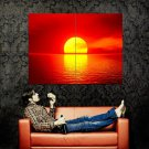 Red Sun Disk Sunset Ocean Nature Huge 47x35 Print POSTER