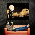 Halloween Graveyard Witch Moon Holiday Huge 47x35 Print Poster
