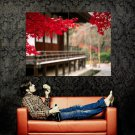 Red Leafes Tree House Focus Nature Huge 47x35 Print POSTER