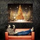 Firs Christmas Trees Snow Night Huge 47x35 Print POSTER
