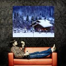 Snow Winter Christmas Trees Night Huge 47x35 Print POSTER