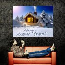 Happy New Year Snow Christmas Huge 47x35 Print POSTER