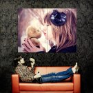 Girl Kissing Teddy Bear Snow Winter Mood Huge 47x35 Print POSTER