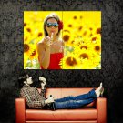 Soap Bubble Blower Girl Sunflowers Mood Huge 47x35 Print POSTER