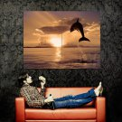 DOLPHIN Jump Sunset Animal Huge 47x35 Print Poster