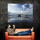 Airport Water Reflections Aircraft Huge 47x35 Print Poster