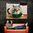 Funny Cat Aquarium Fish Animal Huge 47x35 Print Poster