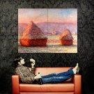 Haystacks Claude Monet Painting Art Vintage Huge 47x35 Print Poster