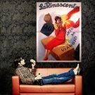 Italian Woman Red Art Vintage Huge 47x35 Print Poster